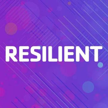 "Purple blue gradient background with bubbles and lines for texture with the single word ""Resilient"" centered on the background."