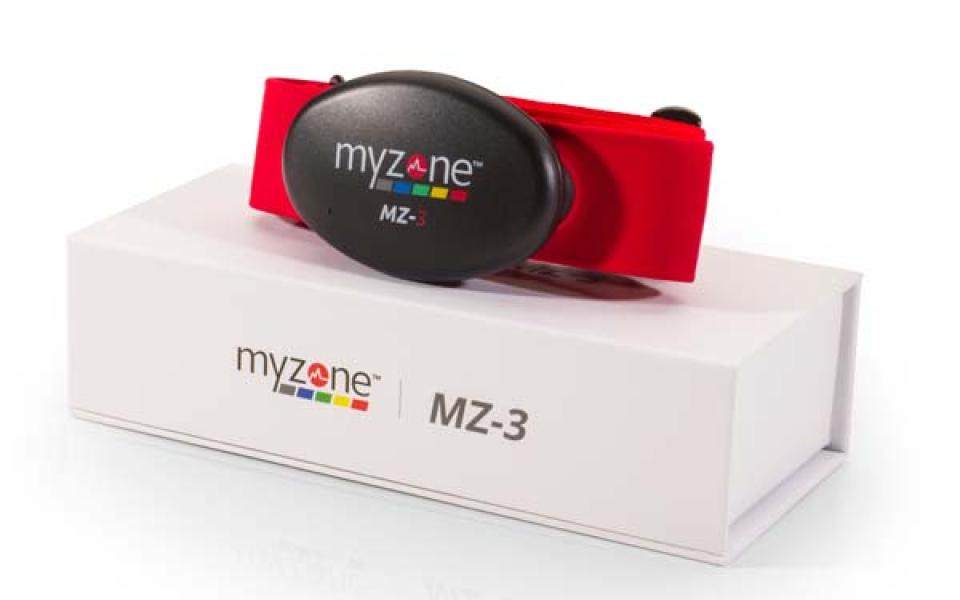 The MZ-3 heart rate tracker sitting on its product box