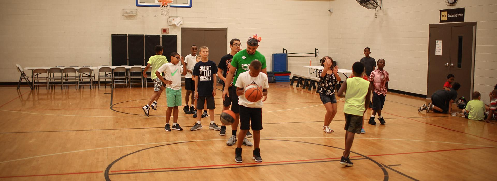Greenbrier Family YMCA kids playing basketball