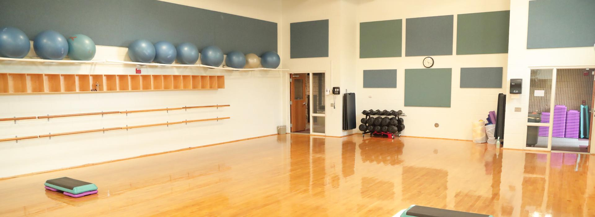 Group exercise space for fitness classes at the Portsmouth YMCA