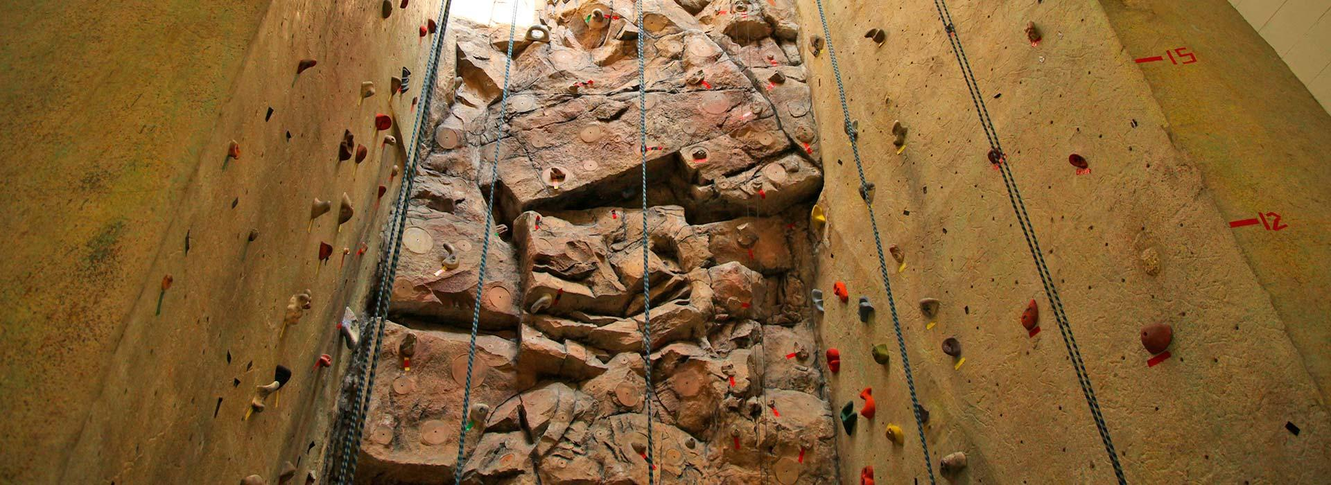 looking up at a rock wall