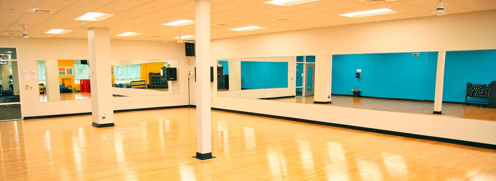 Group fitness room for fitness classes at the YMCA at Edinburgh