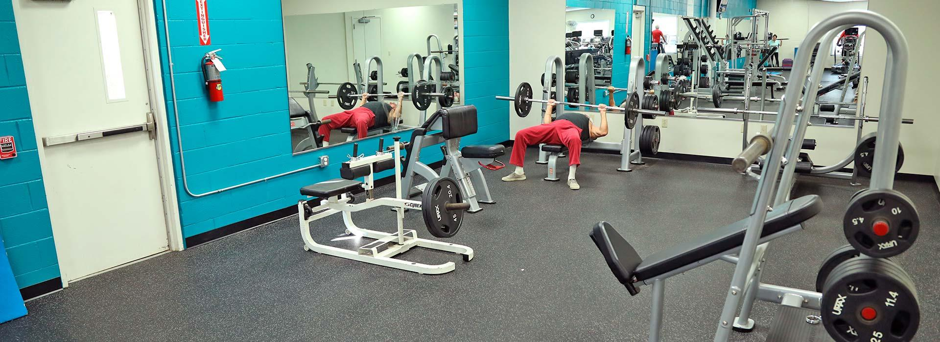 Free weight center at the Eastern Shore Family YMCA