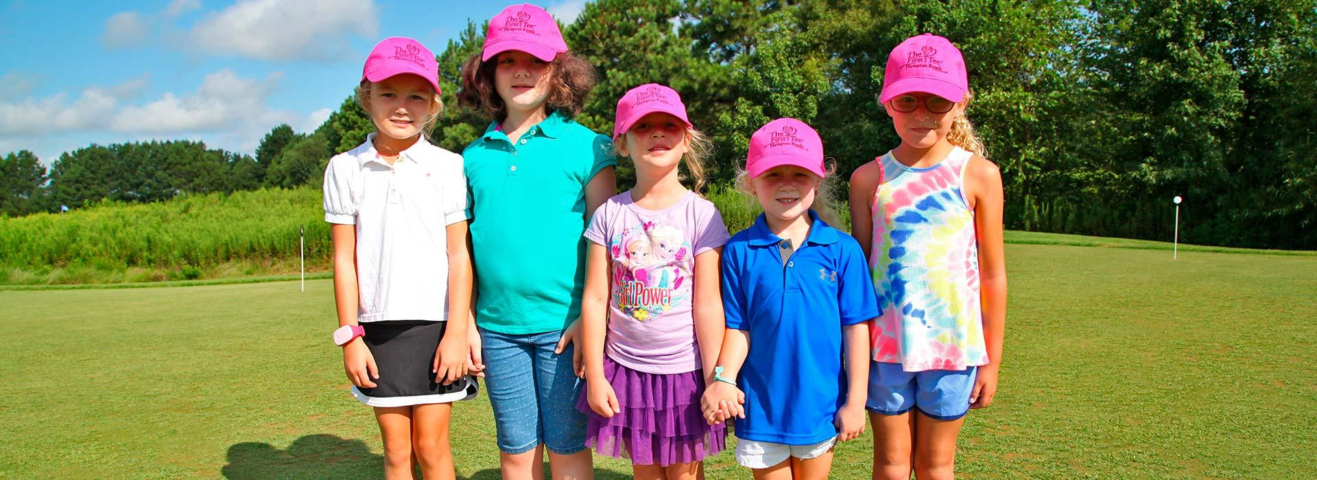 The First Tee of Hampton Roads girls standing together