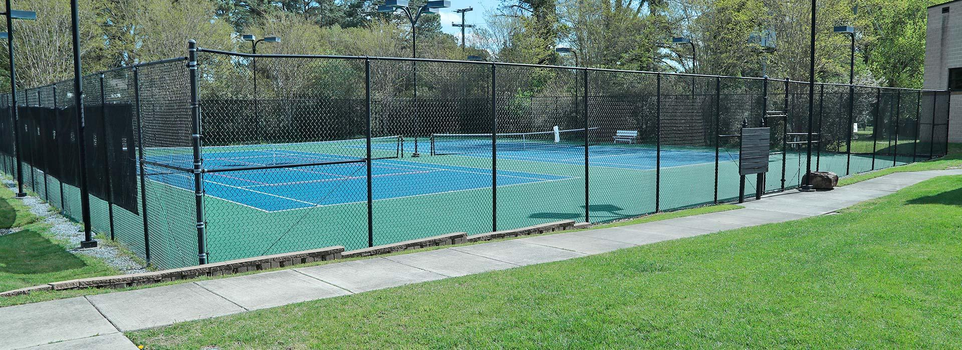 Outdoor tennis courts at the Portsmouth YMCA