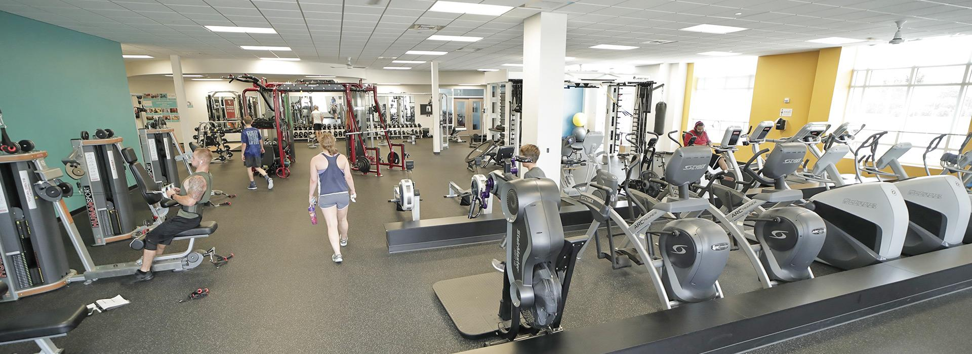 Cardio equipment including treadmills, ellipticals, bikes and steppers at the YMCA at Edinburgh