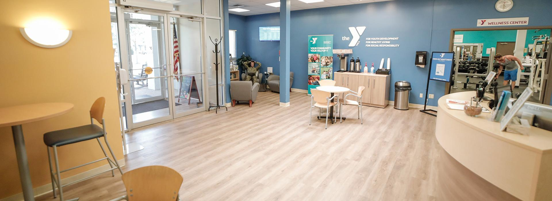 Newly renovated lobby and member connection space at the Hilltop Family YMCA