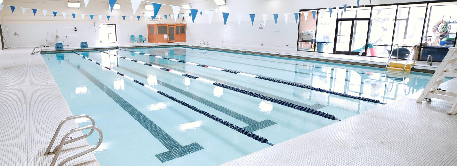 25-meter indoor lap swimming pool at the Mt. Trashmore Family YMCA