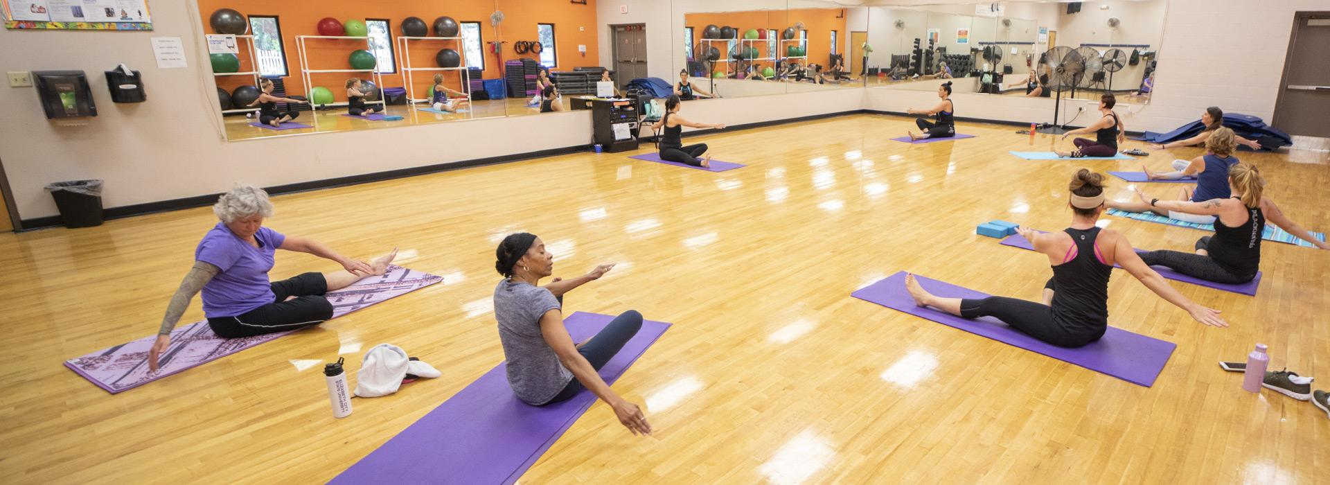 YMCA members participating in a Yoga class at the Albemarle Family YMCA