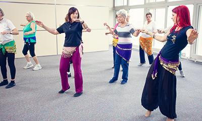 seniors in belly dancing class