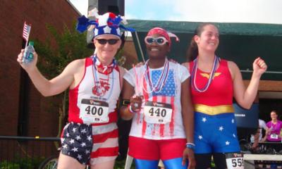 friends celebrating at a 4th of July race